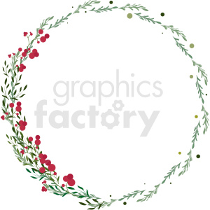pretty floral circle border vector clipart