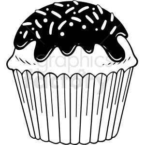 black white cupcake vector clipart clipart. Commercial use image # 412635