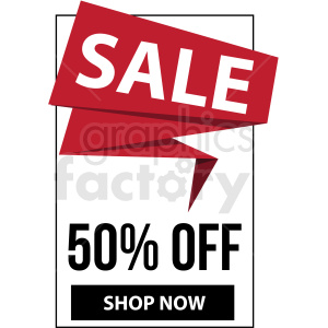 50 percent off sale shop now banner with black border icon vector clipart clipart. Royalty-free image # 412676