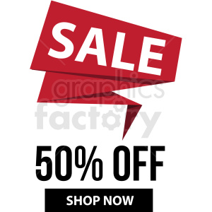 50 percent off sale shop now banner with no border icon vector clipart clipart. Commercial use image # 412680