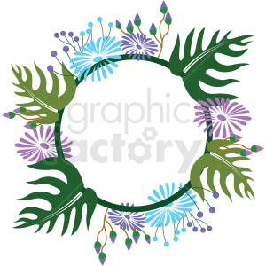 flower border circle frame vector graphic clipart. Royalty-free image # 412690