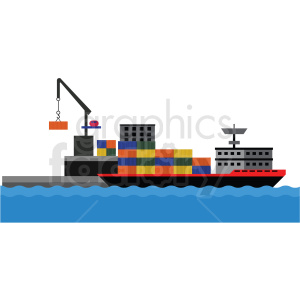 cargo ship port vector clipart clipart. Commercial use image # 412695