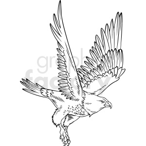 black and white eagle flying vector clipart clipart. Royalty-free image # 412724