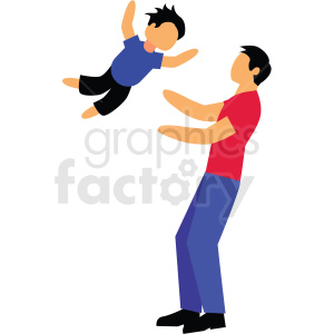 father and son playing vector clipart clipart. Commercial use image # 412730