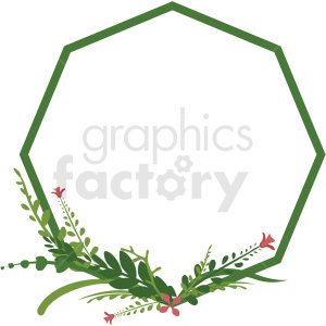 octagon wreath vector clipart