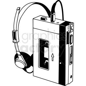 walkman black and white vector clipart. Commercial use image # 412830