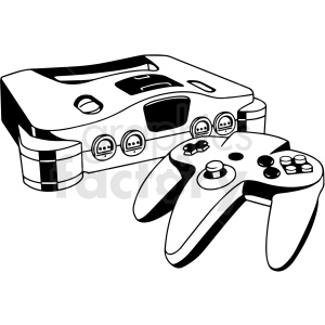gaming console black and white vector clipart. Commercial use image # 412835