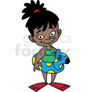 hispanic cartoon child ready for swimming vector clipart. Commercial use image # 412871