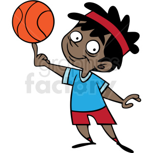 hispanic cartoon child playing basketball vector clipart. Commercial use image # 412876
