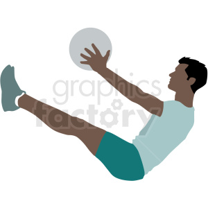 hispanic man doing situps vector illustration clipart. Commercial use image # 412890