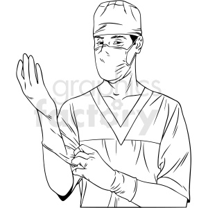black and white medical doctor vector illustration clipart. Royalty-free image # 412906