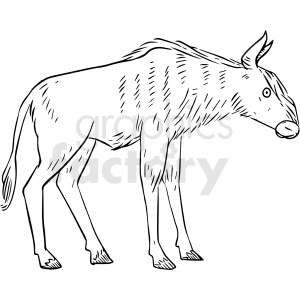 black and white yak vector clipart clipart. Commercial use image # 412921