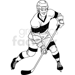 black and white hockey player shooting clipart design clipart. Royalty-free image # 412942