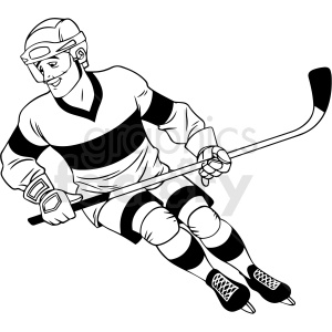 black and white hockey player clipart