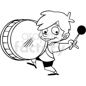 black and white boy playing drum vector clipart clipart. Royalty-free image # 413024