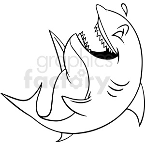 black and white laughing shark vector clipart