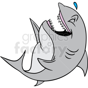cartoon laughing shark vector clipart clipart. Commercial use image # 413120