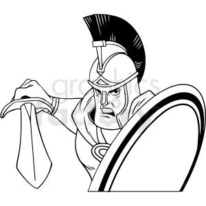 black and white trojan warrior vector clipart clipart. Royalty-free image # 413137