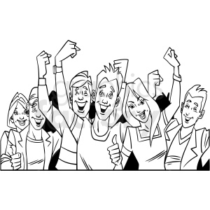 black and white cartoon crowd of people vector clipart