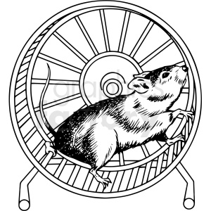 black and white rat running in wheel vector clipart clipart. Commercial use image # 413218