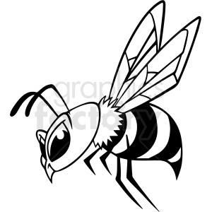 black and white cartoon bee vector clipart