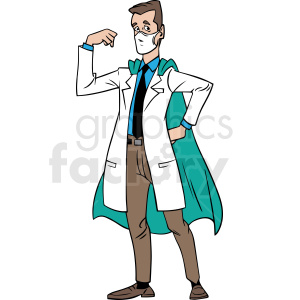cartoon doctor wearing hero cape vector clipart