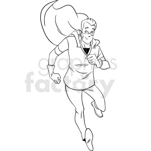 black and white cartoon doctor hero running vector clipart clipart. Commercial use image # 413228