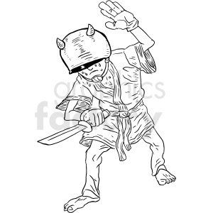 black and white knife fighter vector clipart clipart. Royalty-free image # 413265