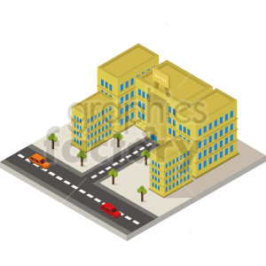 isometric city block with hotel vector clipart clipart. Commercial use image # 413468