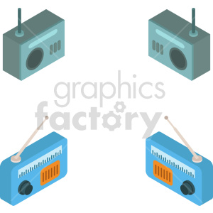 isometric radio vector icon clipart 5
