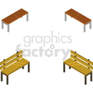 isometric bench vector icon clipart 2 clipart. Commercial use image # 414169