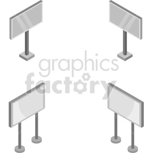 isometric street signs set vector icon clipart 4