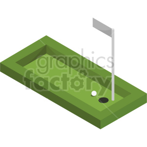 isometric golf course vector icon clipart 2