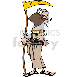 father time wearing mask holding hourglass vector clipart