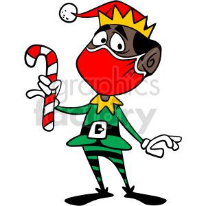 Santa black elf wearing mask vector clipart