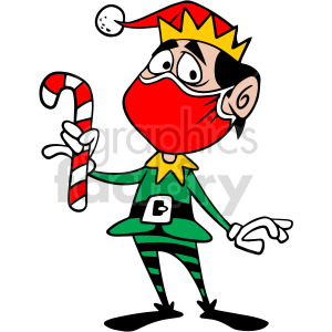 Santa elf wearing mask vector clipart
