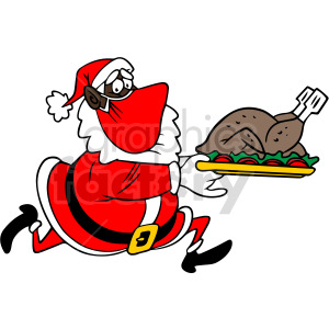 black Santa wearing mask running holding dinner plate vector clipart clipart. Commercial use image # 414706