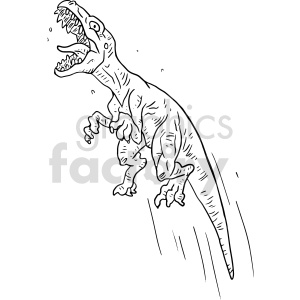 jumping raptor black and white clipart clipart. Commercial use image # 414769