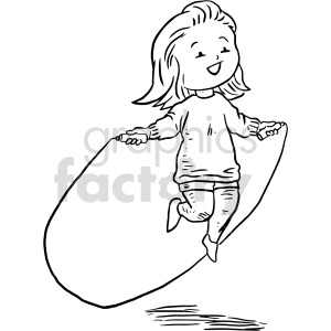 jump rope girl black and white clipart clipart. Commercial use image # 414777