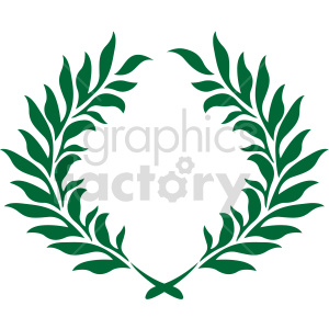 clipart - dark green laurel wreath design vector clipart.