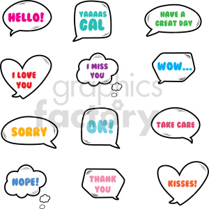 speech texting chat vector art bundle clipart. Commercial use image # 415111