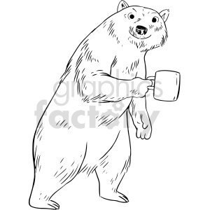 bear holding coffee mug vector clipart clipart. Commercial use image # 415136