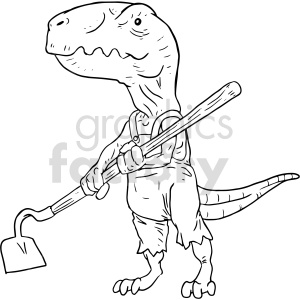 trex dinosaur gardening black+white tattoo