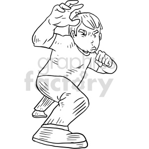 guy in defensive stance vector graphic clipart