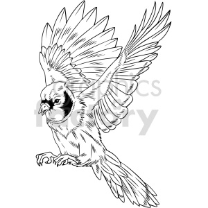 clipart - black and white flying bird vector clipart.