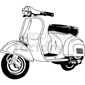 black and white vespa scooter vector clipart clipart. Commercial use image # 416195