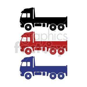clipart - flatbed delivery truck vector clipart set.