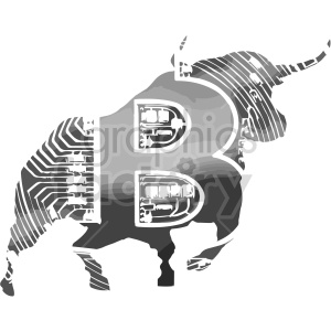 black and white bitcoin bull vector clipart clipart. Commercial use image # 416691