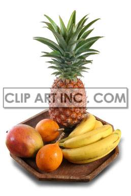 Fruit on a wooden platter clipart. Commercial use image # 176923
