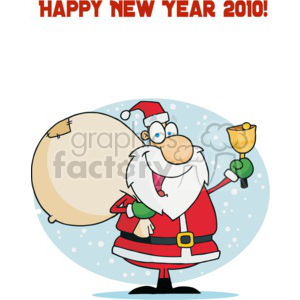 Happy New Year 2010 Santa with Bell clipart. Royalty-free image # 377771